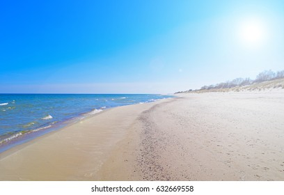 Beautiful view of the beach near the Baltic sea on the Curonian spit. The sun is shining