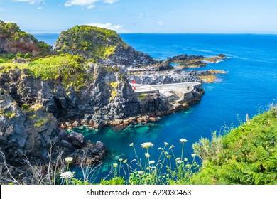 Beautiful view of the beach in Santa Cruz das Flores Village - Flores Island - Azores Portugal