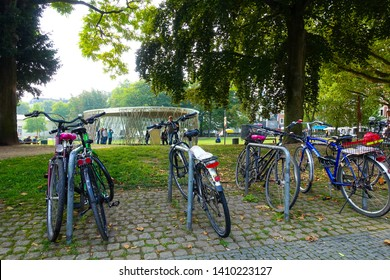 Beautiful view of bikes near the Aachen park, Aachen, Germany, 30.08.2018