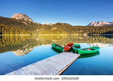 Beautiful view of Black lake on sunny day. Location National park Durmitor, Zabljak, Montenegro, Europe. Scenic image of amazing nature landscape. Wonderful summer scene. Discover the beauty of earth.
