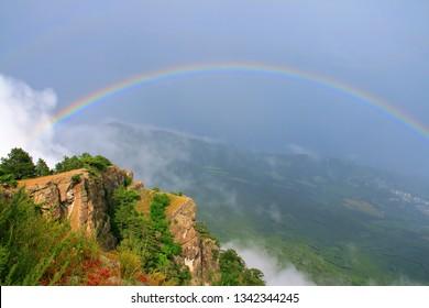 Beautiful view to the Black Sea with the rainbow from Mount Ai-Petri, Yalta, Crimea.