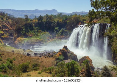 Beautiful view of Blue Nile Falls. Waterfall on the Blue Nile river. Nature and travel. Ethiopia, Amhara Region, near Bahir Dar and Lake Tana