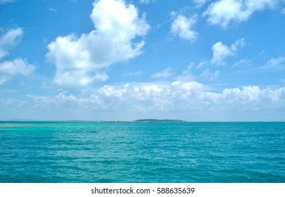 Beautiful view of blue sea  with cloud sky natural background and island.