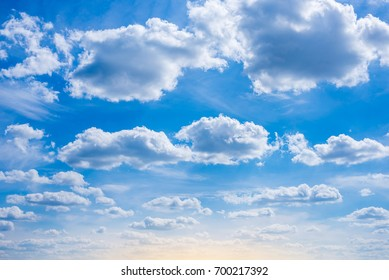 Beautiful view of blue sky with white clouds. Texture for background