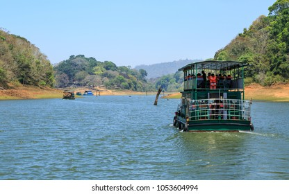 Beautiful view of boating in thekkady lake and periyar tiger reserve forest, Thekkady, Idukki District, Kerala, India.