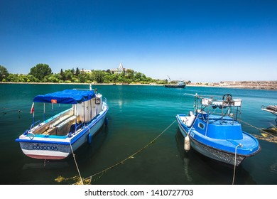 Beautiful view with Boats docked in sea port at port of Sozopol Bulgaria,Marine parking of fishing boats and stunning blue water. Sozopol Bulgaria,May 29 2019