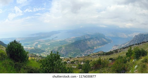 Beautiful view and the Bokj Kotorska bay from the top of the mountain.  Montenegro