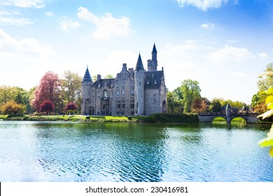 Beautiful view of Bornem Castle from the river side near Antwerp in Belgium