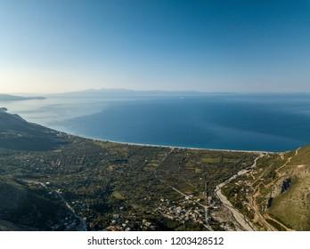 Beautiful view of Borsh beach in Albania (Albanian Riviera)