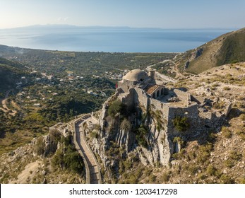 Beautiful view of Borsh Castle in Himara, Albania with the Albanian Riviera in the background