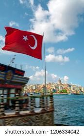Beautiful View of Bosphorus Coastline with Flag of Turkey in Istanbul