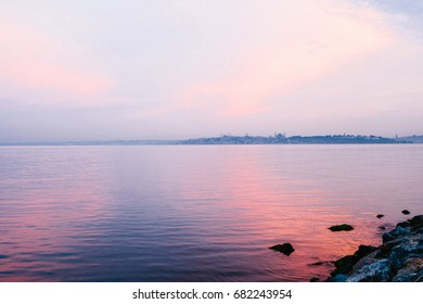 Beautiful view of the Bosphorus from the east side of Istanbul at sunrise. Turkey. Travel, leisure, coast.