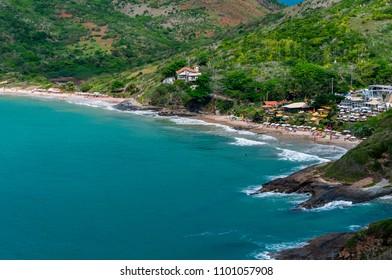Beautiful view of Brava beach (Praia Brava) at Buzios, Rio de Janeiro, Brazil. Praia Brava offers perfect conditions for surfing, bodyboarding and also scuba. - Shutterstock ID 1101057908