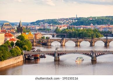 Beautiful view to bridges and Vltava, Prague, Czech Republic