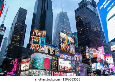 Beautiful view of Broadway skyline at evening time. Beautiful landscape backgrounds. 09.27.2012. New York. USA