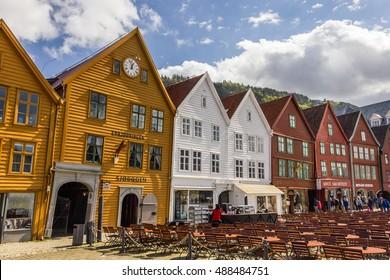 Beautiful view of Bryggen historic buidings in Bergen, Norway