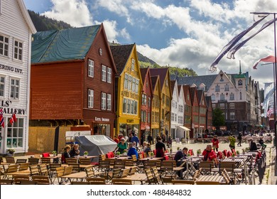 Beautiful view of Bryggen historic buidings in Bergen, Norway