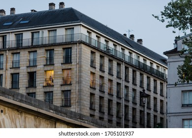 beautiful view of the building in Paris in the evening