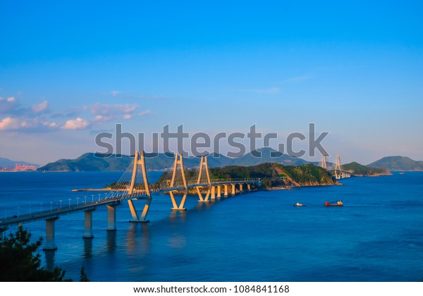 Beautiful view of Busan - Geoje Fixed Link (Geoga Bridge), South Korea.