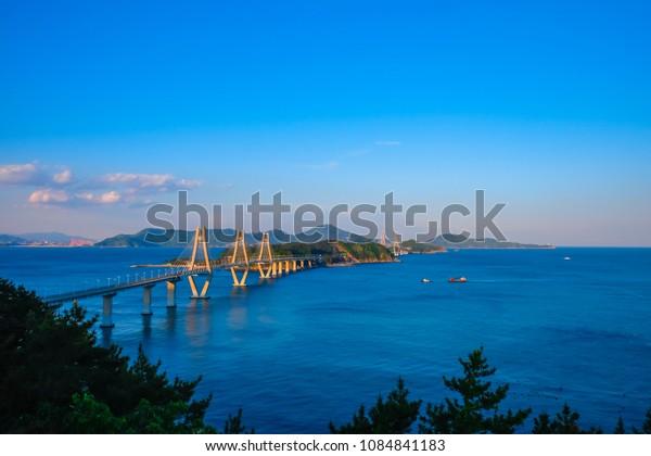 Beautiful view of Busan - Geoje Fixed Link (Geoga Bridge), South Korea.