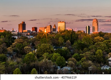 Beautiful view of business center in downtown at sunset, Winston-Salem, North Carolina