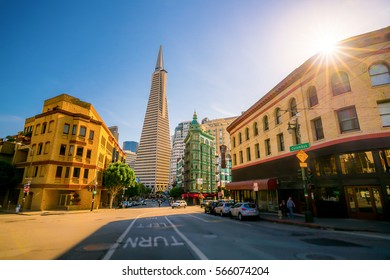 Beautiful view of business center in downtown San Francisco in USA