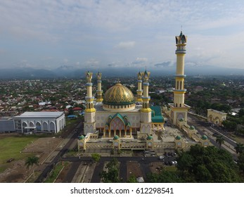 beautiful view by drone islamic centre mataram,lombok.this mosque are place for religion islam