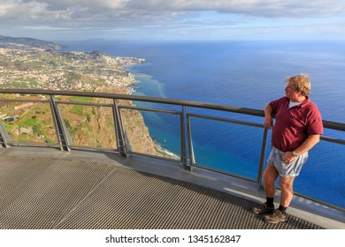 Beautiful view from the Cabo Girao glass platform, a viewpoint on top of the big cliffs of the island Madeira