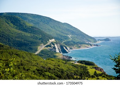 A beautiful view of the Cabot Trail in summer.