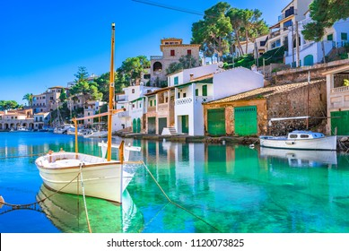 Beautiful view of Cala Figuera, old fishing harbor on Mallorca, Balearic Islands, Spain Mediterranean Sea