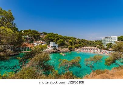 Beautiful view of Cala Santanyi beach of Majorca island, Mediterranean Sea, Balearic Islands.