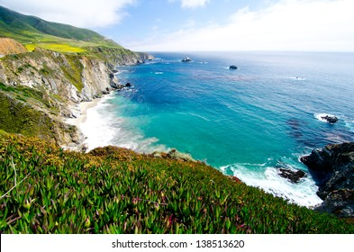 A Beautiful View of the California Coastline along State Road 1.