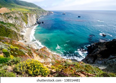 A beautiful view of California's coastline along California State Route 1, one of the most famous and spectacular drives in the United States.