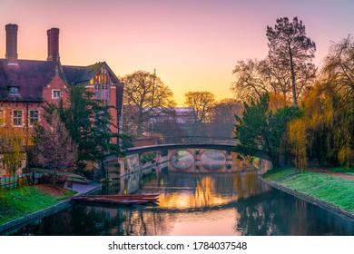 Beautiful view of Cam river at sunrise in Cambridge. United Kingdom