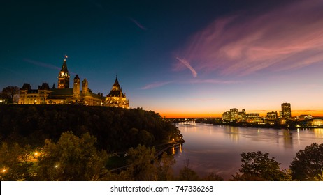 Beautiful View of Canadian Parliament, Ottawa River and Gatineau Skyline at Dusk