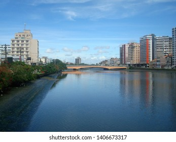 A beautiful view of the Capibaribe river that cuts the city, in Recife, Brazil.