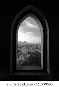 Beautiful view of Capital City Ljubljana in Slovenia through a Castle window
