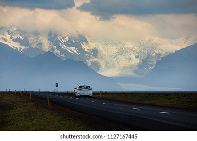 Beautiful view of car on the road trip go to glacier Skaftafell , Vatnajokull National Park at Summer in Iceland