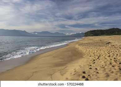 Beautiful view of Caraguatatuba beach, north coast of the state of Sao Paulo, Brazil