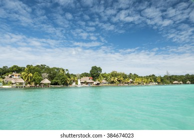Beautiful view of caribbean lagoon Bacalar. Seven Color water