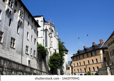 Beautiful view of castle on a sunny day.Chambery.France.