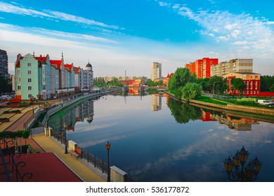 Beautiful view of the center of Kaliningrad city and Pregolya River, Russia, Europe