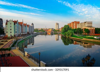 Beautiful view of the center of Kaliningrad and Pregolya River, Russia, Europe