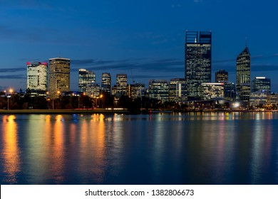 Beautiful view of central Perth at blue hour, Western Australia