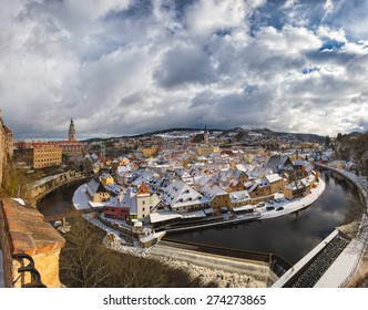 Beautiful view of Cesky Krumlov moment before the snowstorm.