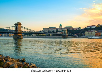 Beautiful view. Chain Bridge (Lanchid) and Royal palace in Budapest, Hungary