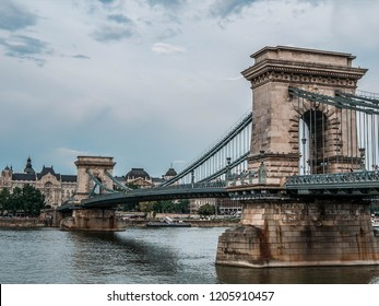 Beautiful view of the Chain Bridge over the Danube in Budapest, Hungary