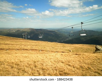 Beautiful view chairlift nature plains, Romania.