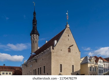 Beautiful view of the Church of the Holy Spirit, Tallinn, Estonia on a sunny day