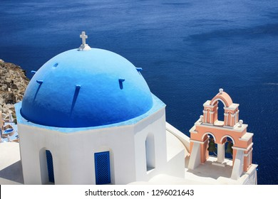 Beautiful view of the church and the sea on the island of Santorin in Greece